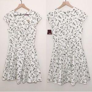 NWT ixia rockabilly cat patterned dress w/ pockets